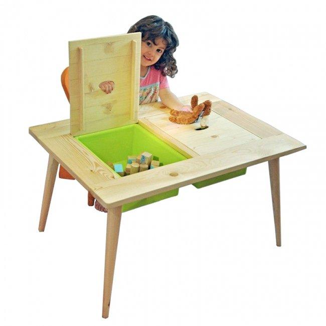 میز کودک چوبی با دو باکس بزرگ مدل 5556