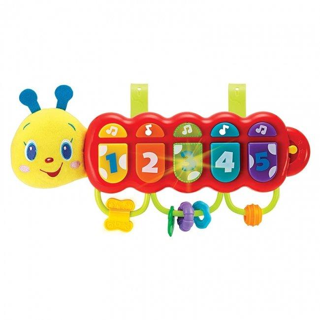 اسباب بازی موزیکال کودک طرح کرم ابریشم  قرمز مدل winfun 00215