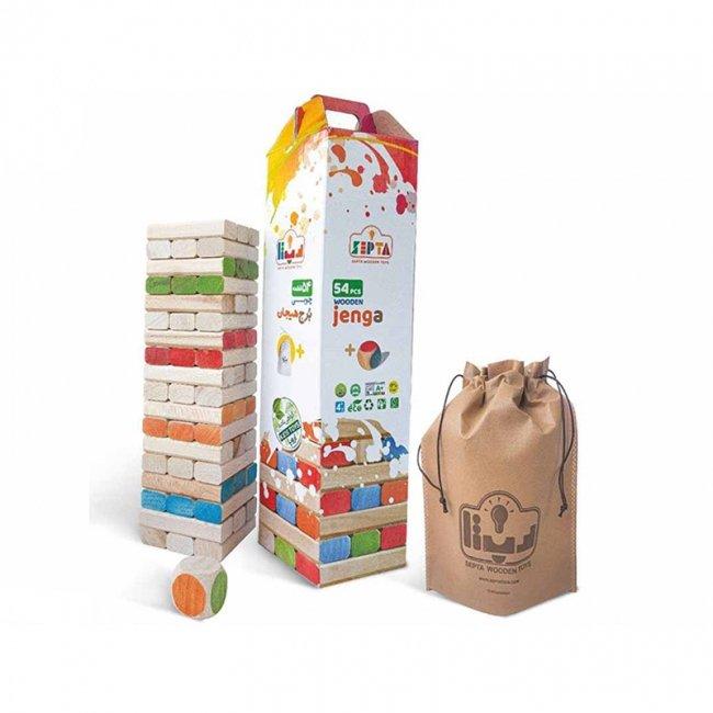 اسباب بازی چوبی بازی فکری جنگا 54 تکه رنگی مدل 0061