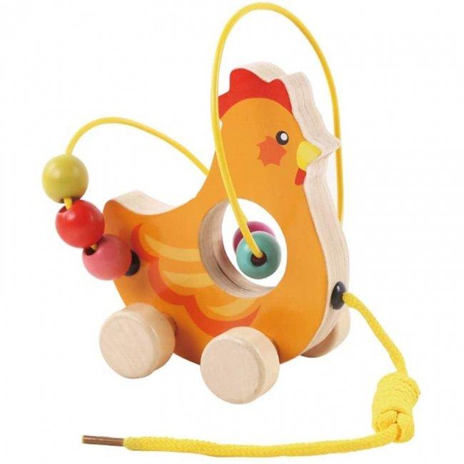 اسباب بازی چوبی و آموزشی مهره و میله کودک طرح خروس مدل 30577