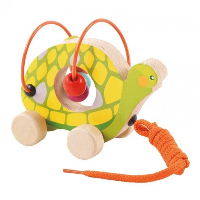 اسباب بازی چوبی و آموزشی مهره و میله کودک طرح لاکپشت مدل 30577