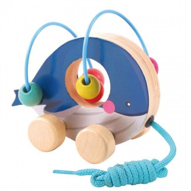 اسباب بازی چوبی و آموزشی مهره و میله کودک طرح نهنگ مدل 30577