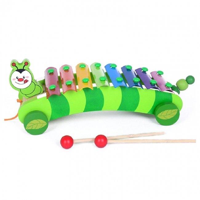 اسباب بازی بلز چوبی چرخدار طرح کرم شب تاب مدل 0125