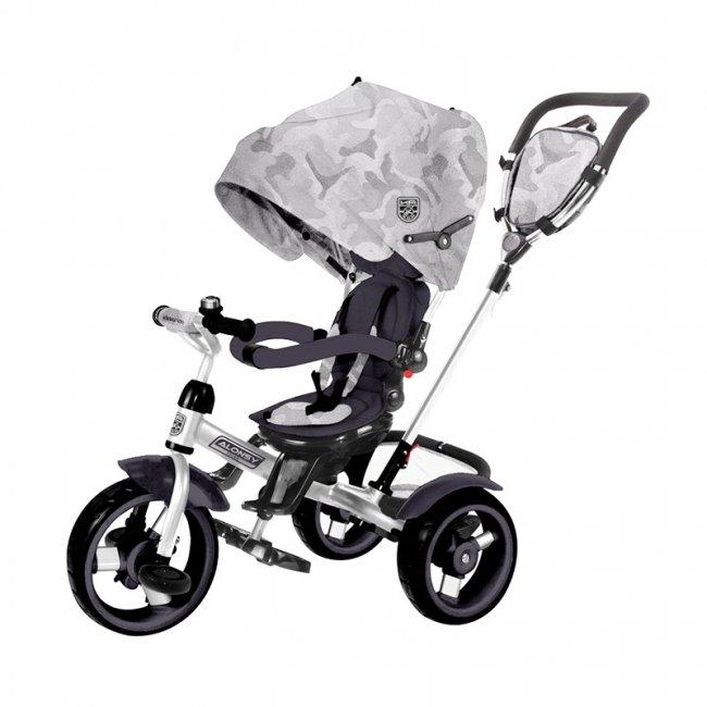 سه چرخه کودک سایبان دار صندلی گردان Kikka Boo رنگ طوسی مدل Alonsy کد 31006020116