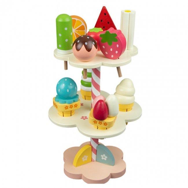 اسباب بازی چوبی ست پذیرایی بستنی و آبنبات کد 3552