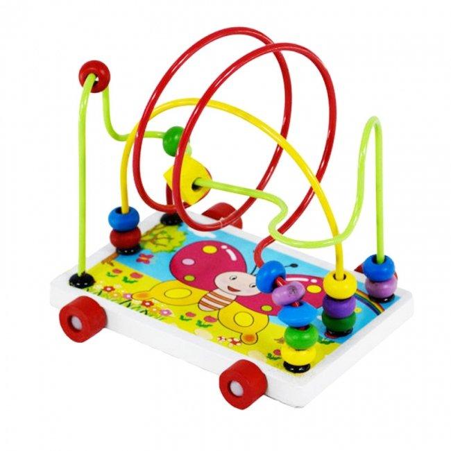 اسباب بازی چوبی میله و مهره چرخدار پروانه مدل 1701