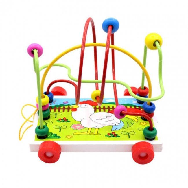 اسباب بازی چوبی میله و مهره چرخدار خروس مدل 1701