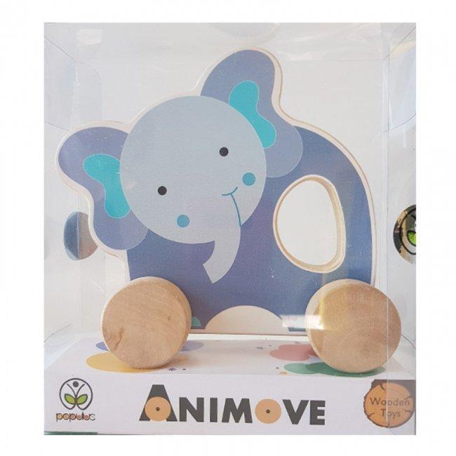 اسباب بازی چوبی فیل چرخدار پوپولوس انیموو Animove کد 10715