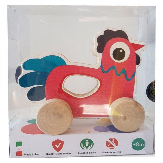 اسباب بازی چوبی خروس چرخدار پوپولوس انیموو Animove کد 10715