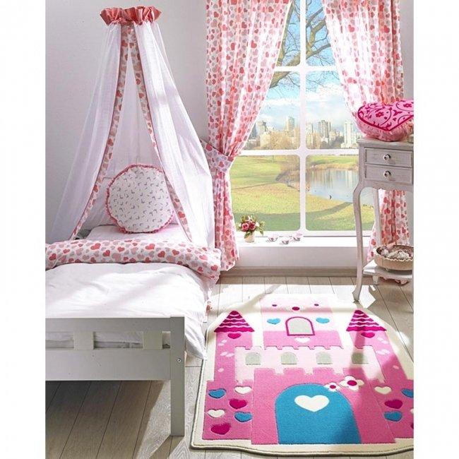 فرش اتاق کودک Confetti طرح قلعه صورتی کد TSC104