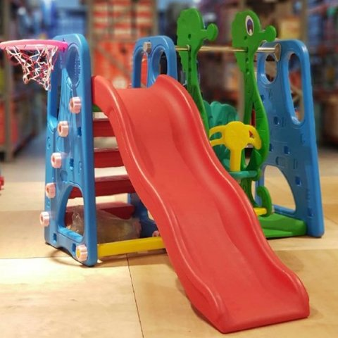 تاب و سرسره کودک با حلقه بسکتبال طرح حروف انگلیسی آبی مدل 5016