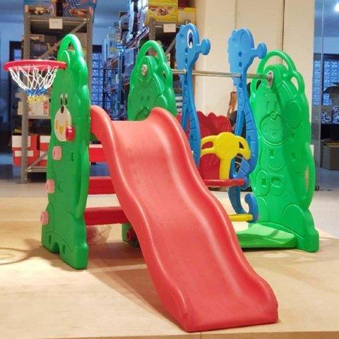 تاب و سرسره کودک با حلقه بسکتبال خرس سبز مدل 5064