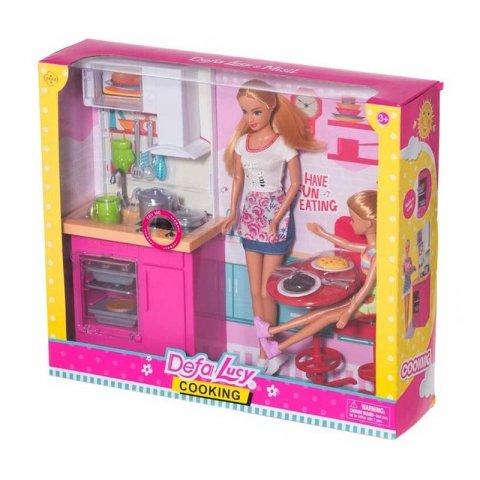 عروسک باربی دفا با وسایل آشپزخانه سفید کد 8442