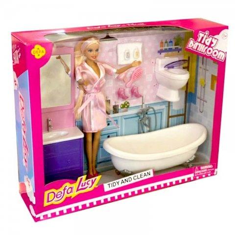 عروسک باربی دفا با وسایل حمام صورتی کد 8436
