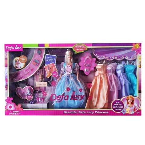عروسک باربی با لباس اضافه مدل دفا آبی کد 6073B