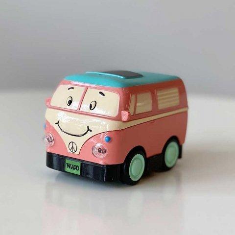 اسباب بازی ماشین فلزی عقب کش مدل اتوبوس صورتی کد YD626