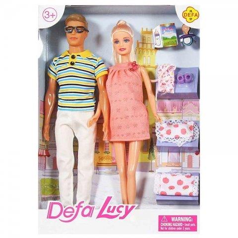 عروسک باربی حامله با شوهر مدل دفا با لباس صورتی کد 8349