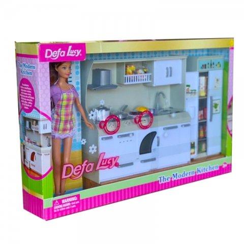 عروسک دخترانه دفا با لباس بنفش با آشپزخانه مدل 6085