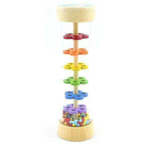جغجغه استوانهای چوبی مدل یونیکورن و رنگین کمون کد BZ-41-A
