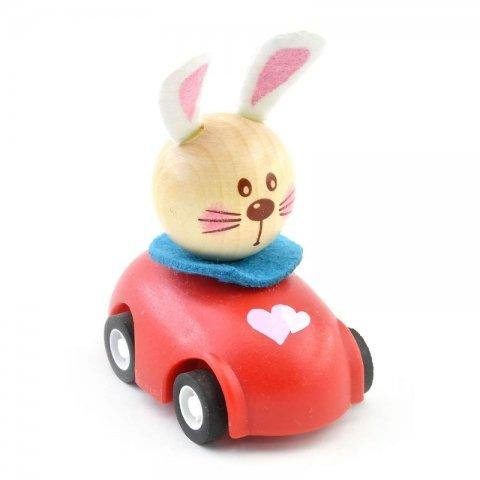 اسباب بازی ماشین عقب کش چوبی با خرگوش راننده کد BZ-01-D