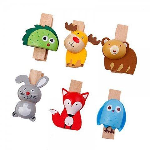 گیره چوبی طرح حیوانات(6 عددی) کد PL-04