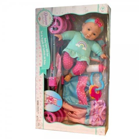 عروسک با کالسکه و وسایل مراقبتی(رنگ سبز) کد 19256