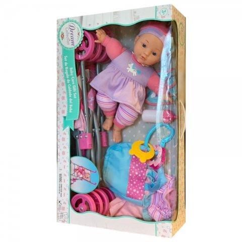 عروسک با کالسکه و وسایل مراقبتی( رنگ صورتی) کد 19256