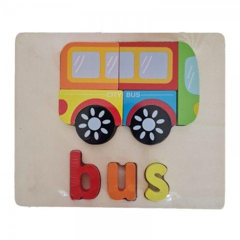 پازل چوبی جاگذاری آموزشی طرح اتوبوس کد 3828A