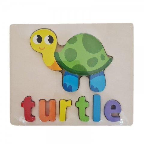 پازل چوبی جاگذاری آموزشی طرح لاکپشت کد 3828A