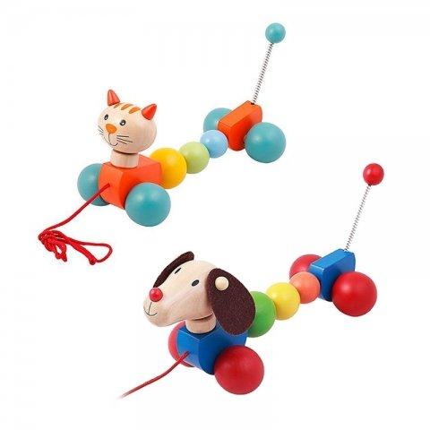 اسباب بازی چوبی سگ و گربه چرخ دار فنری کد BZ-29-F