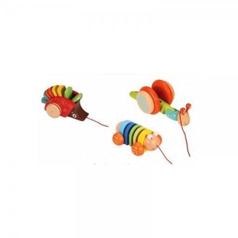اسباب بازی چوبی حیوانات چرخ دار کد BZ-29-A