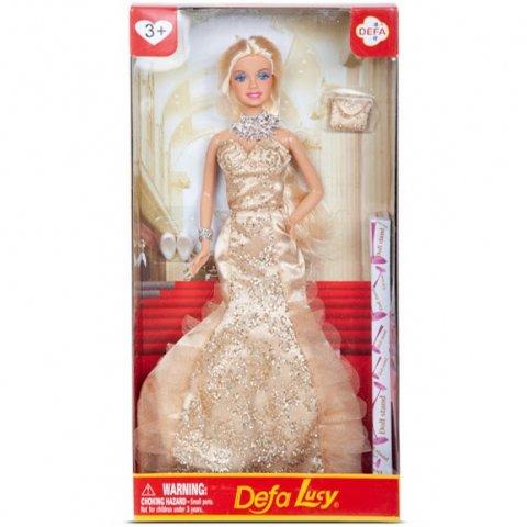 عروسک باربی دفا با لباس شب رنگ کرم کد 8270