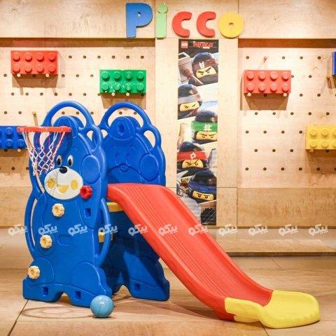 سرسره کودک 3 پله خرس آبی با حلقه بسکتبال مدل ps5120