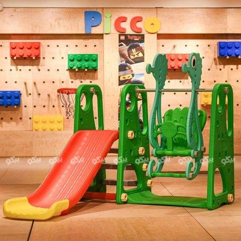 تاب و سرسره کودک با حلقه بسکتبال طرح ABCD حروف انگلیسی سبز مدل ps5110