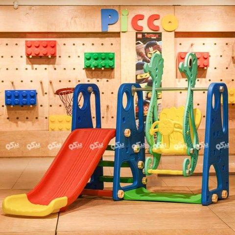 تاب و سرسره کودک با حلقه بسکتبال طرح ABCD حروف انگلیسی آبی مدل ps5110