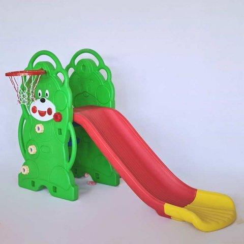 سرسره کودک 3 پله خرس سبز با حلقه بسکتبال مدل ps5120