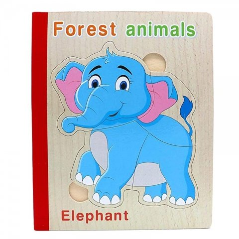 پازل کتابی چوبی مدل حیوانات جنگل کد XLE-009