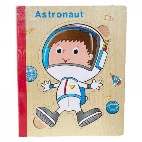 پازل کتابی چوبی مدل فضانورد کد XLE-010