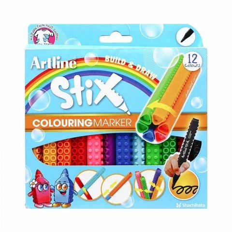 ماژیک نقاشی 12 رنگ استیکس کد ETX300