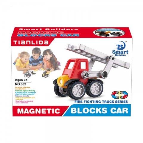اسباب بازی مگنتی مدل ماشین آتش نشانی 6 تکه کد 382