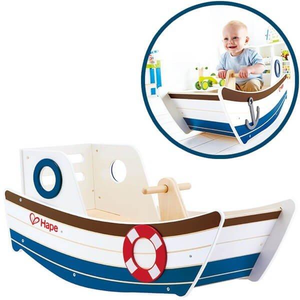 راکر قایق چوبی کودک hape مدل high seas rocker hape 0102