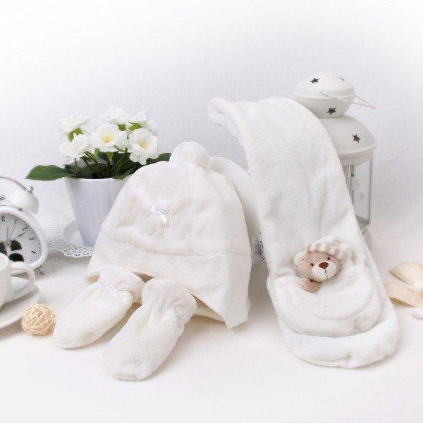 ست هدیه کلاه و دستکش و شال نوزادی fly by fly کد 15282 رنگ کرم