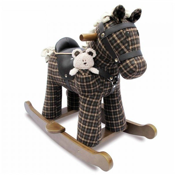 راکر اسب کودک چوبی طرح روفوس با عروسک  little bird مدل 3018