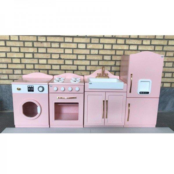 آشپزخانه 4 تکه رنگی صورتی سفید