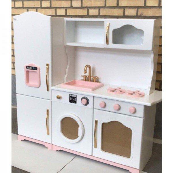 آشپزخانه چوبی مدل آلما رنگ سفید صورتی کد 606551