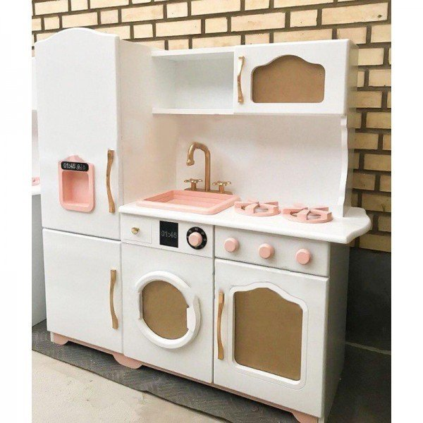 آشپزخانه چوبی مدل آلما رنگ شیری گلبهی کد 606551