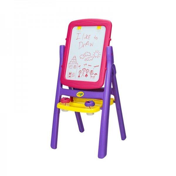 تخته نقاشی کودک دوطرفه صورتی بنفش با لوازم crayola 50332