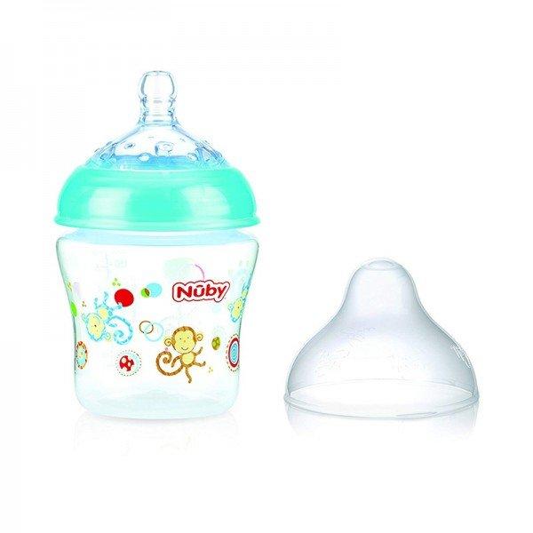 شیشه شیر فیروزه ای طرح دار nuby 1193