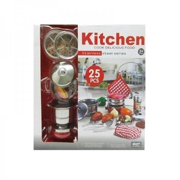 ست ظروف و لوازم آشپزخانه استیل 25 تکه مدل 555010