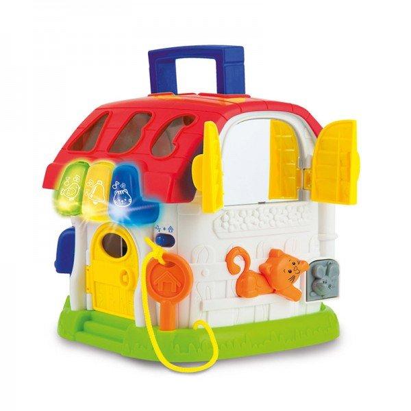 اسباب بازی موزیکال جورچین کودک طرح کلبه  4 طرفه مدل winfun 00772